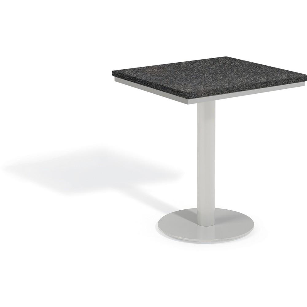 Travira 24 Square Patio Bistro Table - Powder Coated Steel Frame - Lite-Core Granite Charcoal Top - Oxford Garden, Gray