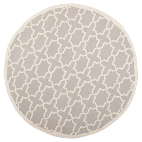 Aklim Dhurry Rug - Grey/Ivory - (6'x6' Round) - Safavieh - image 1 of 1