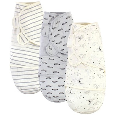 Touched by Nature Unisex Baby Organic Cotton Swaddle Wraps - Mr. Moon 0-3M
