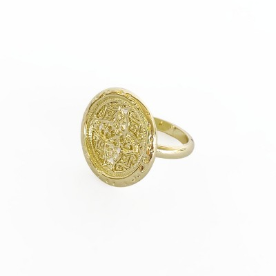 Sanctuary Project Round Rosette Medallion Coin Statement Ring Gold
