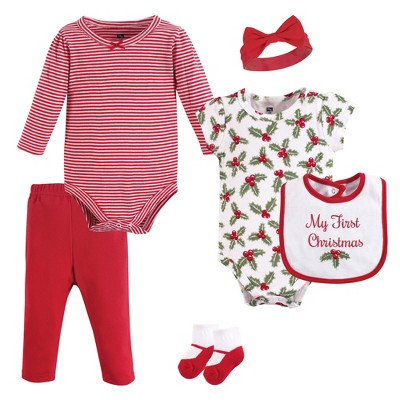 Hudson Baby Infant Girl Cotton Layette Set, Holly