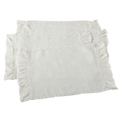 Ruffled Design Placemats Ivory (Set of 4)