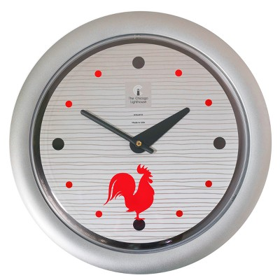 "14"" x 1.8"" Morning Rooster Decorative Wall Clock Silver Frame - By Chicago Lighthouse"