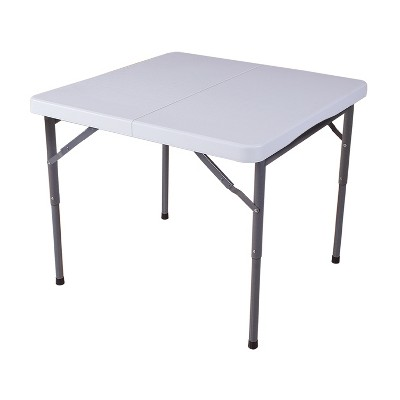 Plastic Development 844FIH Steel Frame Foldable 34-inch Vinyl Card Table for Outdoor & Indoor Dining or Entertainment, White