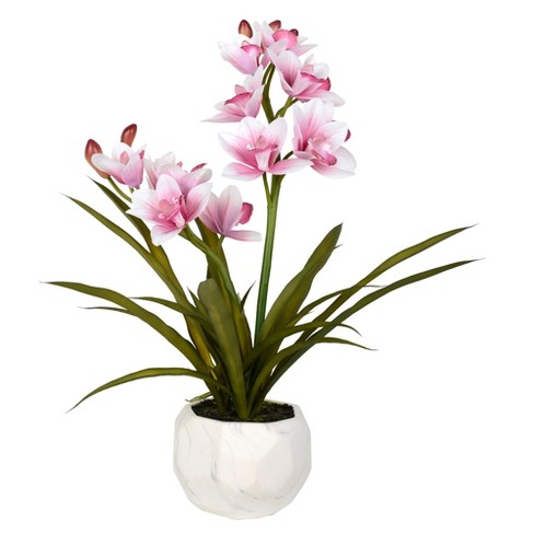 "Vickerman 26"" Artificial Pink Orchid Arranged In A White Ceramic Pot. - image 1 of 3"