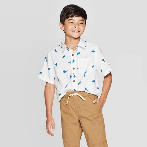 Boys' Short Sleeve Button-Down Shirt - Cat & Jack™ Almond - image 1 of 3