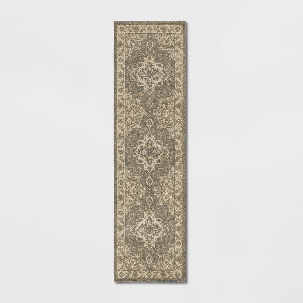 Medallion Jewel Boarder Persian Woven Runner Rug Cream/Gray