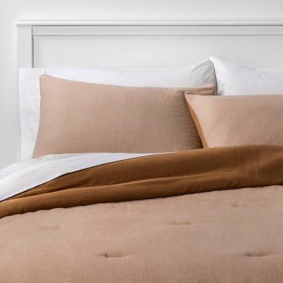 Flannel Herringbone Comforter & Sham Set Tan - Threshold™