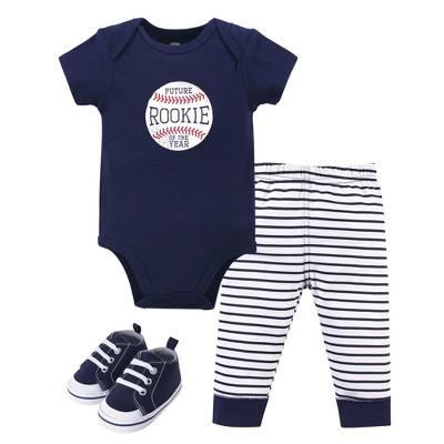 Hudson Baby Infant Boy Cotton Bodysuit, Pant and Shoe 3pc Set, Rookie