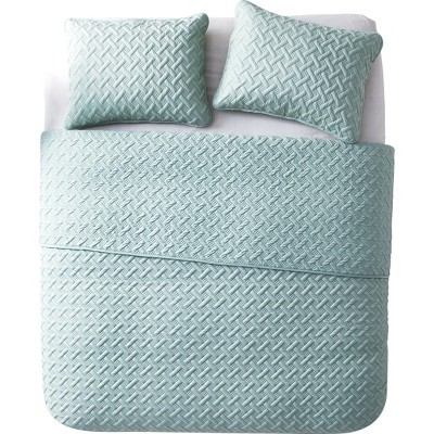 3pc King Nina Embossed Quilt Set Blue - VCNY Home