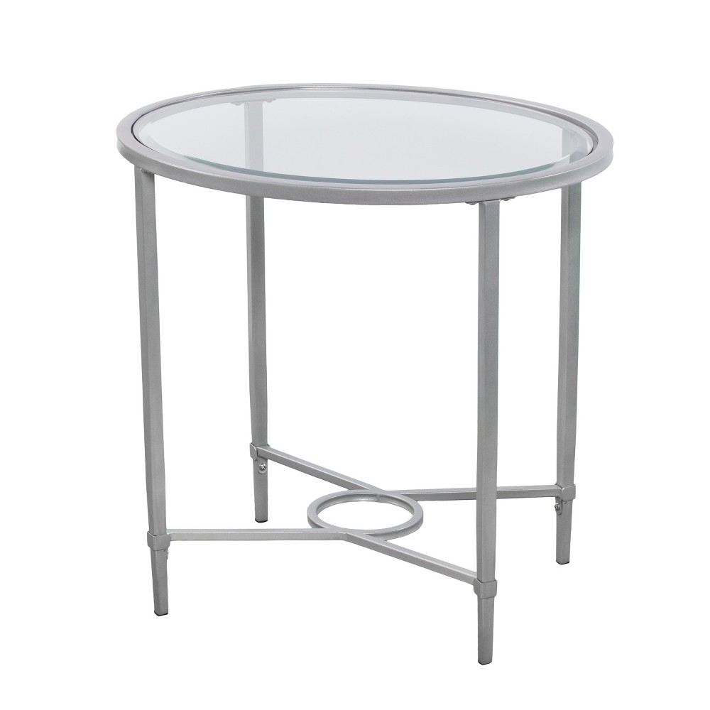 Dickinson Metal/Glass Oval Side Table Silver - Aiden Lane
