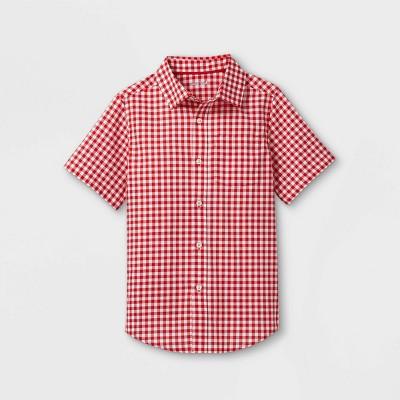 Boys' Woven Short Sleeve Button-Down Shirt - Cat & Jack™ Red