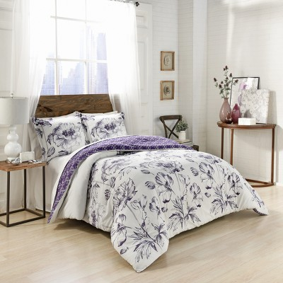 3pc Queen Jasmeen Reversible Comforter Set Purple - Marble Hill
