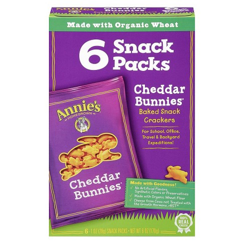Annie's Homegrown Crackers Cheddar Bunnies Snack Packs - 1oz - 6ct - image 1 of 4