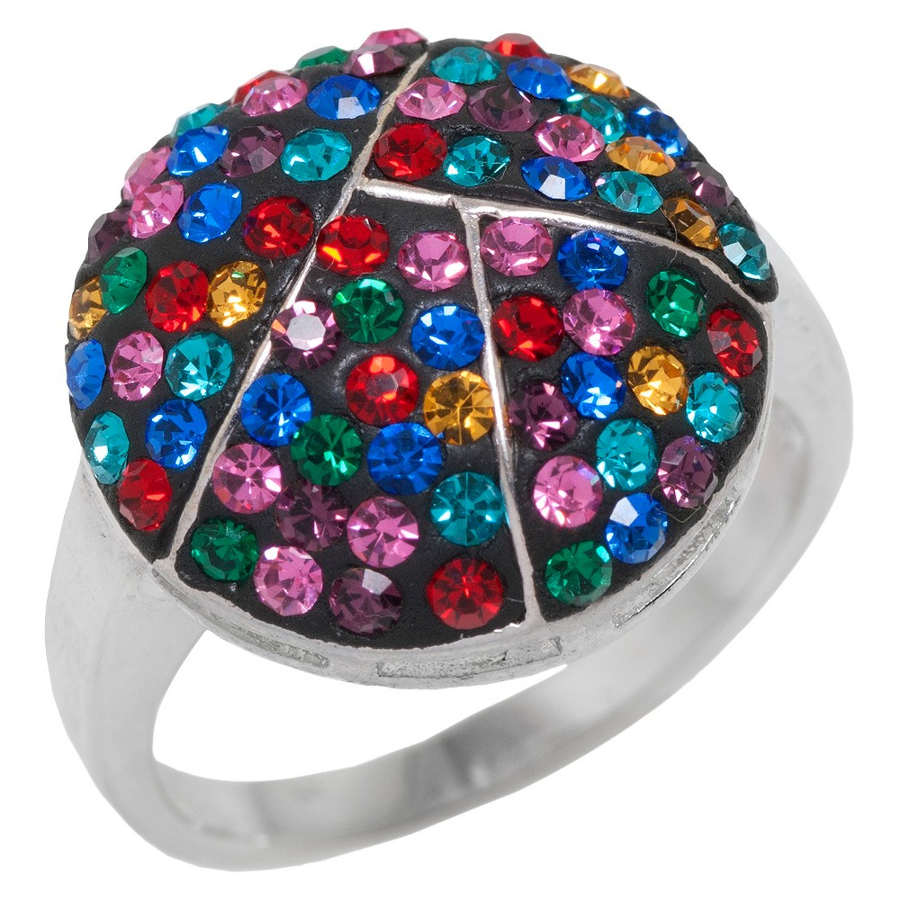 Target Women's Silver Plated Round Ring with Crystals Size 8, Multicolored