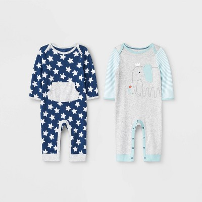 Baby Boys' 2pk Little Peanut Rompers - Cloud Island™ Newborn