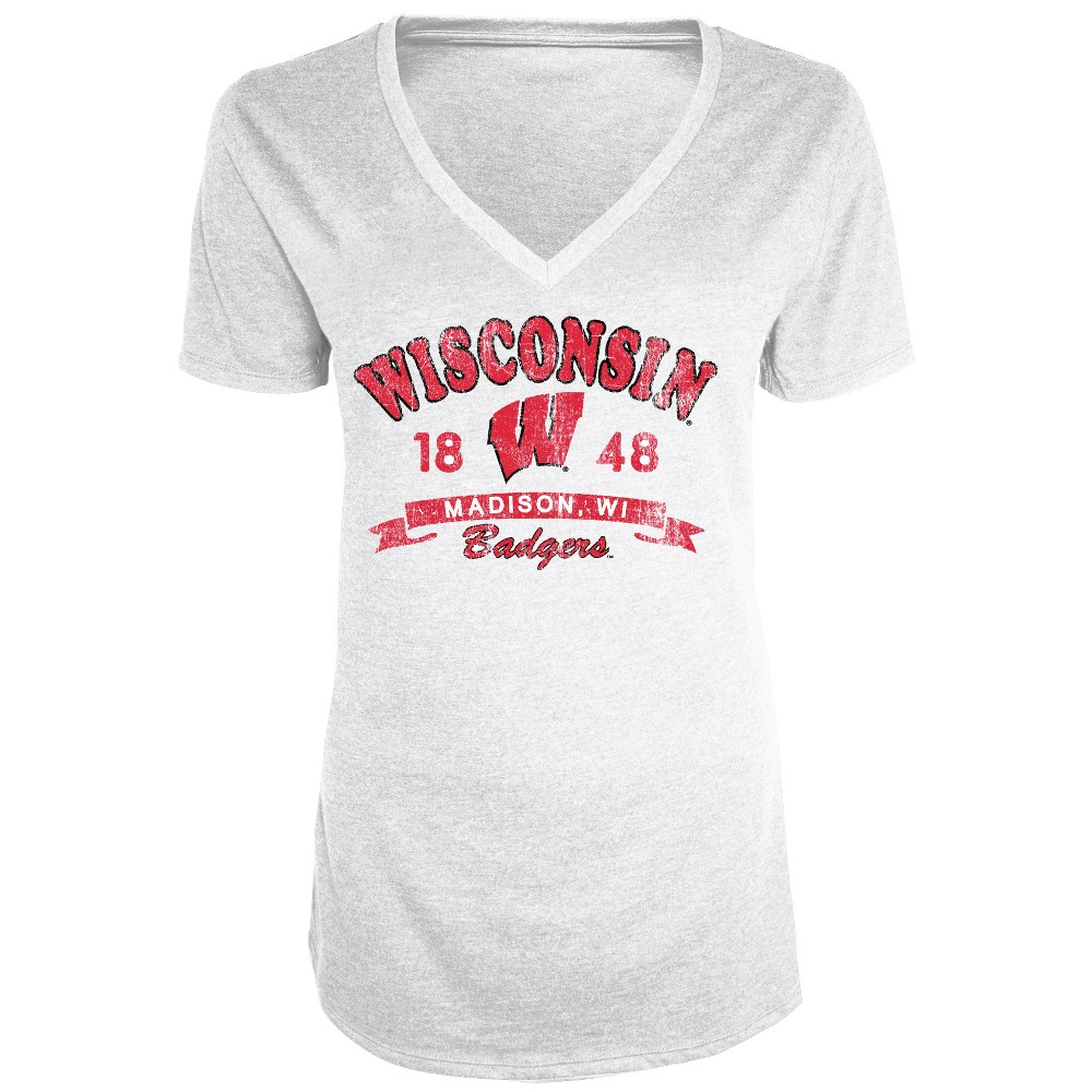Wisconsin Badgers Women's Short Sleeve Heathered V-Neck T-Shirt - L, Multicolored