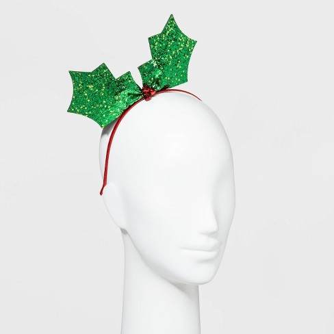 Plaid with Glitter Antlers and Sequin Bow Headbands - Red - image 1 of 1