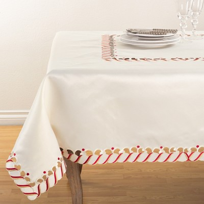 Saro Lifestyle Candy Cane Design Holiday Christmas Tablecloth