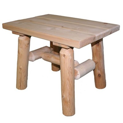 Lakeland Mills White Cedar Tree Log Wood Outdoor Patio Porch Side End Accent Table, Natural