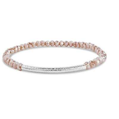 SHINE by Sterling Forever Champagne Beaded Bar Stretch Bracelet