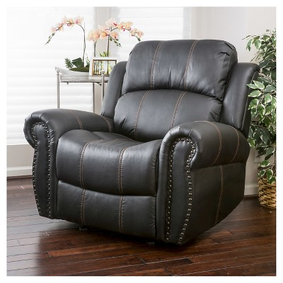 Beau Charlie Polyurethane Leather Glider Recliner Club Chair   Christopher Knight  Home : Target