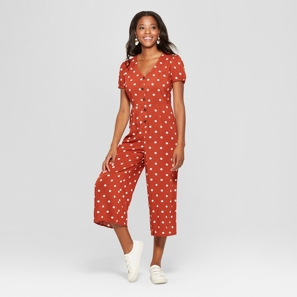 Women's Polka Dot Short Sleeve Button Front Tie Back Cropped Jumpsuit - Xhilaration Rust (Red) M