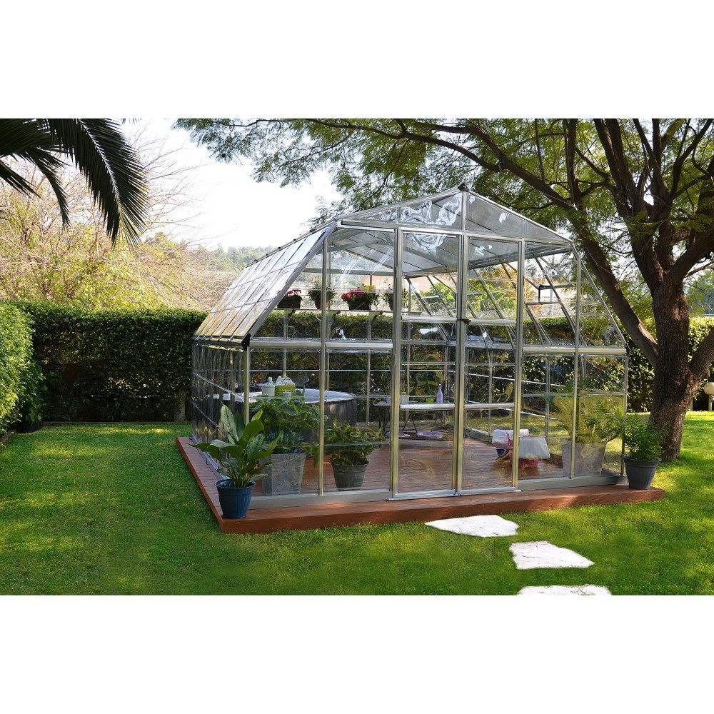 Image of 12' x 12' Americana Silver Greenhouse - Silver - Palram