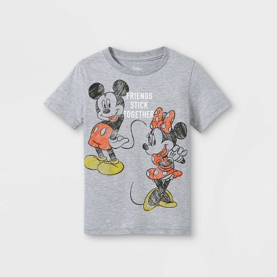 Toddler Girls' Disney Mickey & Minnie Friends Stick Together Short Sleeve T-Shirt - Gray - Disney Store