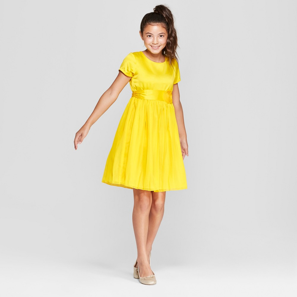 Girls' Disney Princess Belle Dress - Yellow XS