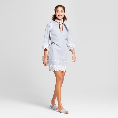 Women's Striped Bell Sleeve Embroidered Dress - A New Day™ Blue - image 1 of 3