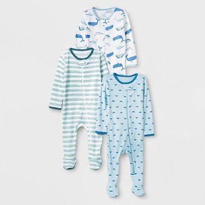 Baby Boys' 3pk Sleepy Tides Zip-Up Sleep N' Play - Cloud Island™ Museum Blue Newborn
