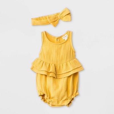 Baby Girls' Gauze Elevated Romper with Headband - Cat & Jack™ Mustard 3-6M