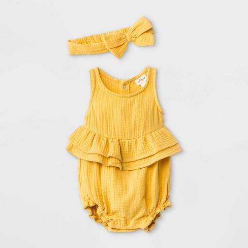 Baby Girls' Gauze Elevated Romper with Headband - Cat & Jack™ Mustard - image 1 of 1