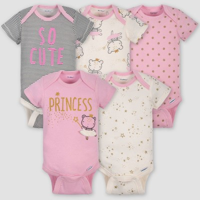 Gerber Baby Girls' 5pk Short Sleeve Princess Bodysuits - Pink/Ivory 0-3M