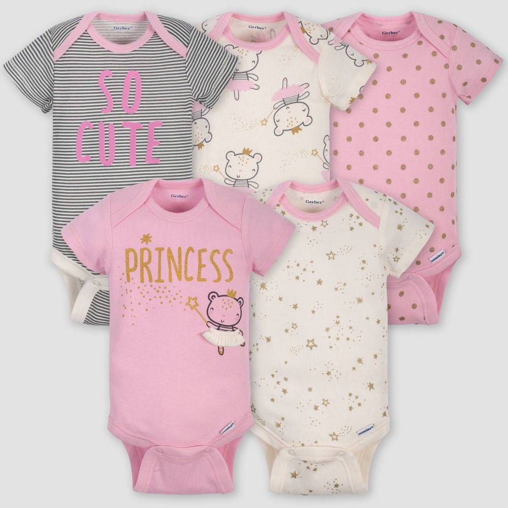 Gerber Baby Girls' 5pk Short Sleeve Princess Bodysuits - Pink/Ivory Newborn