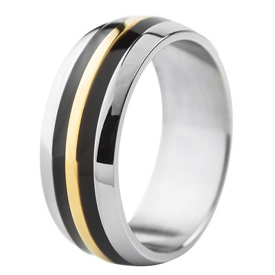 Men's West Coast Jewelry Stainless Steel Tri-Color Domed Band Ring