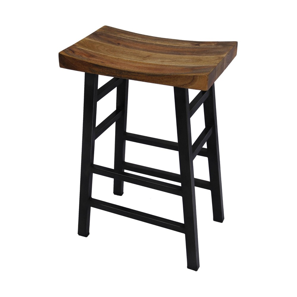 "Image of ""30"""" Wooden Saddle Seat Barstool Slate Black - The Urban Port"""