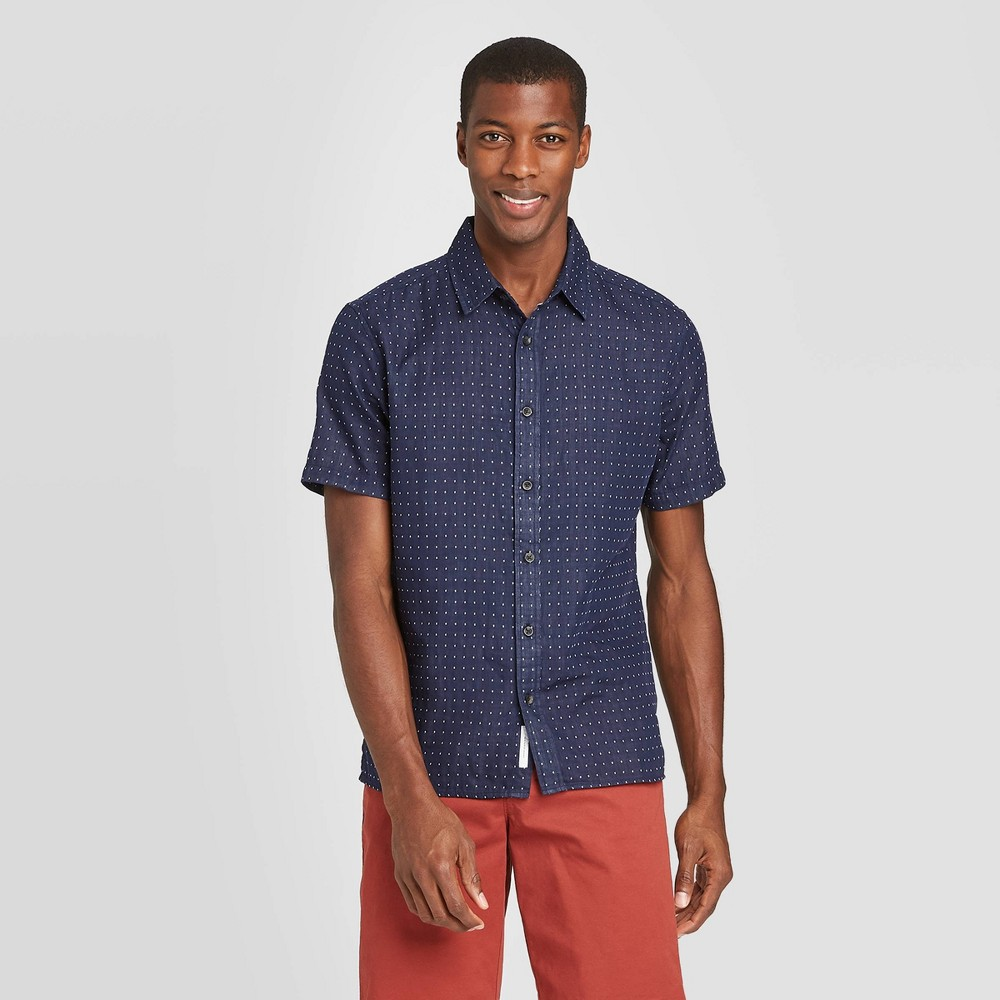 Men's Printed Standard Fit Short Sleeve Shirt - Goodfellow & Co Navy L, Blue was $19.99 now $12.0 (40.0% off)