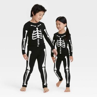 Toddler Halloween Skeleton Matching Family Pajama Set - Black