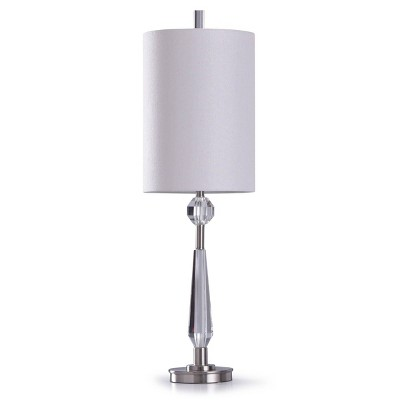 Faceted Crystal Table Lamp with Orb Detail Cylinder Shade Clear - StyleCraft