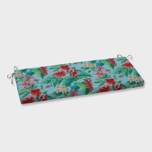 Tropical Paradise Outdoor Bench Cushion Blue - Pillow Perfect - image 1 of 1