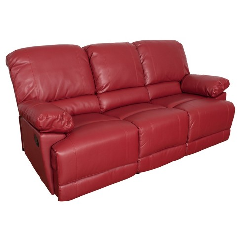 Lea Red Bonded Leather Reclining Sofa - Corliving