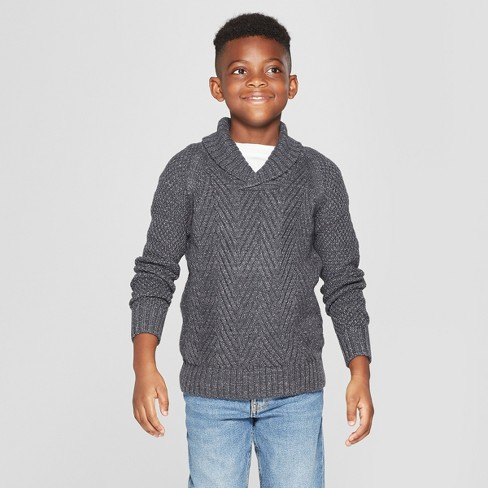 Boys' Long Sleeve Pullover Sweater - Cat & Jack™ Charcoal Gray - image 1 of 3