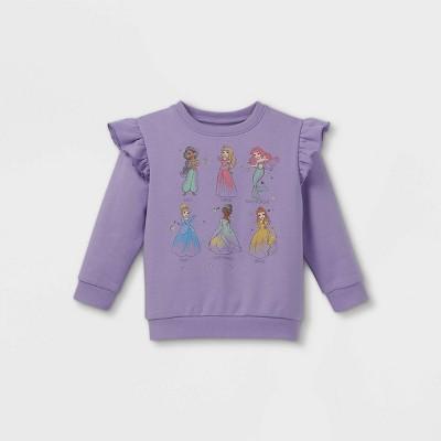 Toddler Girls' Disney Princess Fleece Crew Neck Pullover - Purple