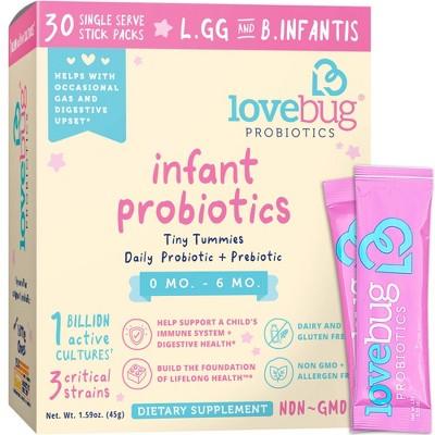 LoveBug Probiotics Tiny Tummies 30pk Infant & Baby Probiotic Supplements for 0-6 Months