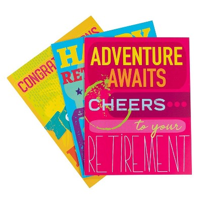 3-Pack Large Jumbo Retirement Farewell Cards with Envelopes, 8.5 X 11 inches Letter-Size for Coworkers, Employee, Boss, 3 Designs