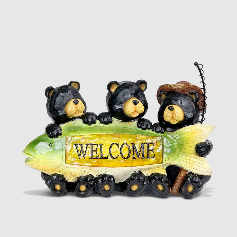 9 Resin Solar Fisherman Bears Statue With Welcome Sign