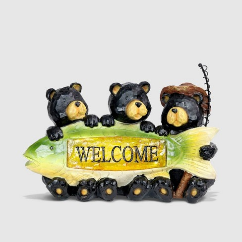 """9"""" Resin Solar Fisherman Bears Statue With Welcome Sign - Exhart - image 1 of 2"""
