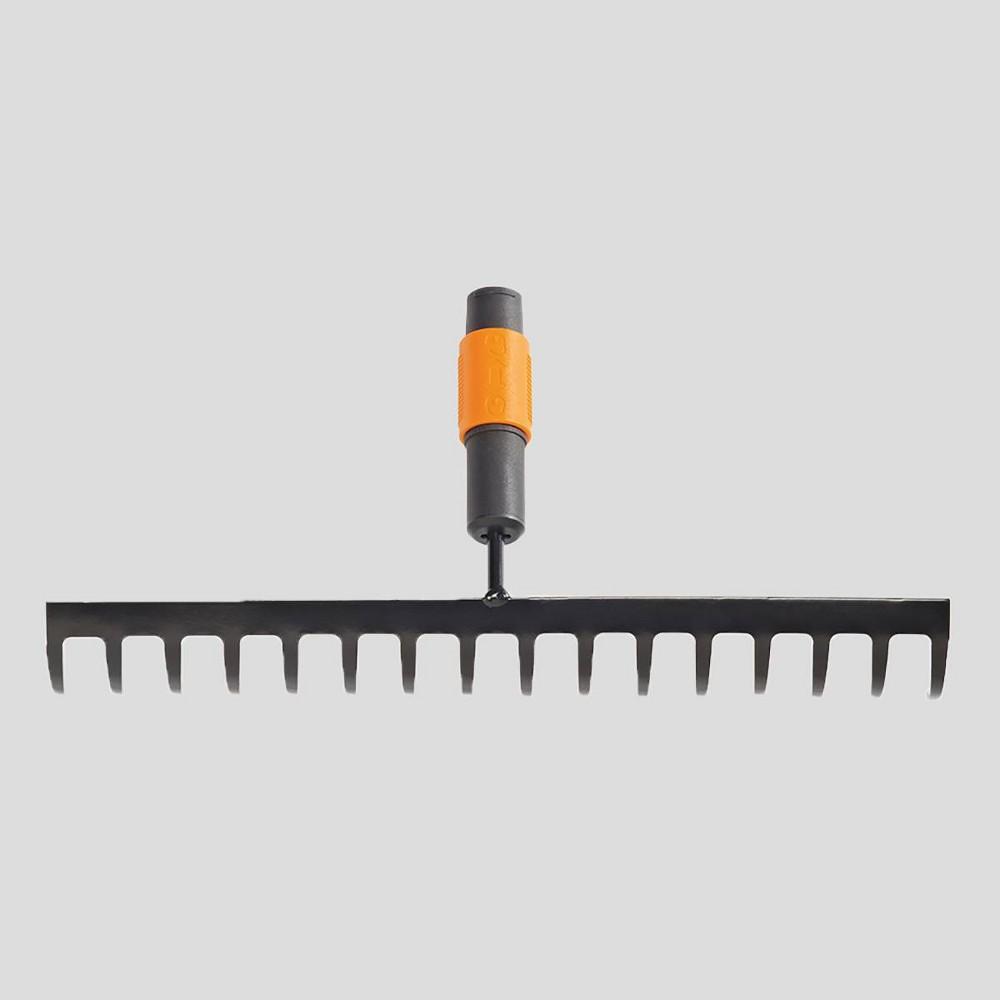 Image of Fiskars 14 Prong QuikFit Soil Rake Orange, Black Orange